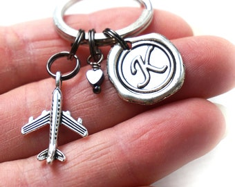 ON VACATION, Long Distance Relationship Gift for Boyfriend Girlfriend, Personalized Keychain Initial, Going Away Travel