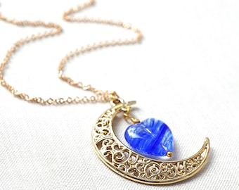 Mothers Day Gift Idea Gold Crescent Moon Necklace Gold Moon Heart Necklace Cobalt Blue Moon Pendant thin Fine Gold Chain Lampwork Glass