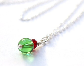 Mothers Day Gift Idea Simple Small Necklace Dainty Wire Wrapped Sterling Silver Pendant Red Green Glass Tiny Charm Necklace Custom Necklace