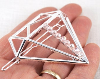 ON VACATION, Diamond Hair Clip Pink Crystals Silver / Gold Pin Geometric Hair Pin, Big Hollow Crystal Hair Barrette Minimalist