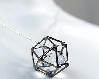ON VACATION, Big Caged Diamond Necklace, Thin Dainty Necklace Hexagon Minimalist Geometric Crystal Necklace April birthstone
