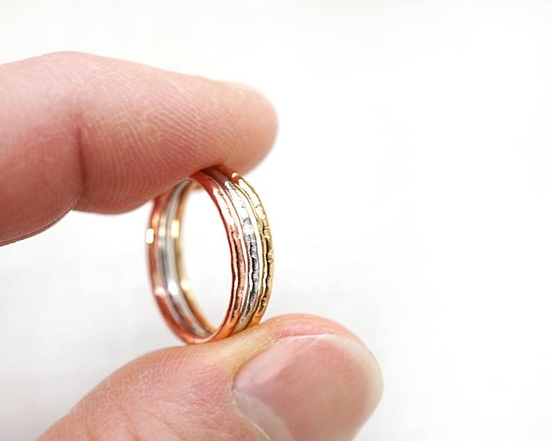 f92f43c5d Micro midi WHITE ROSE GOLD Stacking Rings Mini ring mixed | Etsy