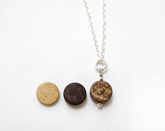 ON VACATION, Dainty Essential Oil Diffuser Necklace Tiny Coconut Disk 925 Sterling Silver Aromatherapy