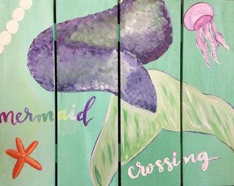 Custom Mermaid Wood Pallet Sign