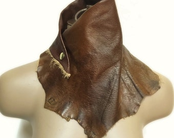 Boho Fashion Scarf, Boho Festival Scarf, Leather Gift Wife, Leather Wrap Choker, Statement Choker, Statement Necklace, Neck Corset, Scraves