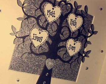 Family tree - black, white & silver - Personalised, unique, gift, keepsake, family, generations, home, friends