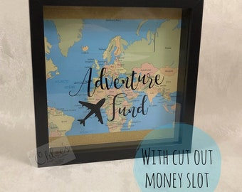 Adventure fund - money box frame! Home dècor, unique, savings, travelling, holidays, piggy bank, money