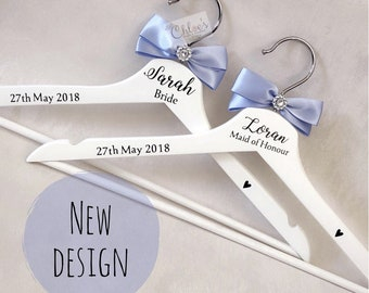 Personalised wedding hangers, Bridesmaid wedding hangers, Bridal party gift, Maid of Honour dress hanger, Wedding day hanger, Dress Hanger