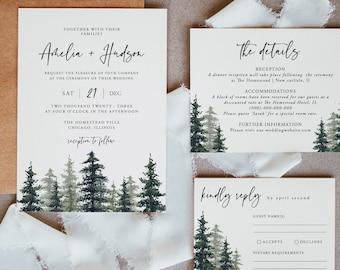 Forest Wedding Invitation Set Pine Tree Invite Digital Template INSTANT DOWNLOAD Printable Wedding Invitation 100/% Editable Template
