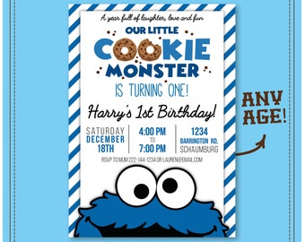 Cookie Monster Birthday Invite Invitation 1st 2nd 3rd 4th Any Age Sesame Street