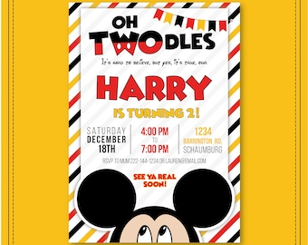 Oh Twodles Invitation Mickey Mouse Birthday Red Second Boy Toodles