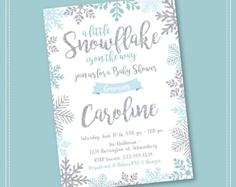Snowflake baby shower invitation winter wonderland baby snowflake baby shower invitation winter wonderland baby shower invitation girl snowflake baby shower winter baby shower invitation boy filmwisefo