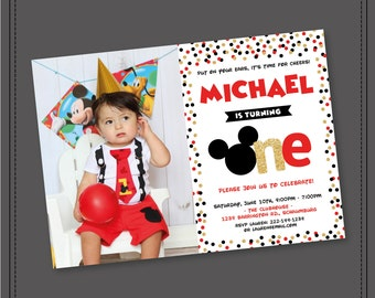 Mickey 1st Birthday Invitation