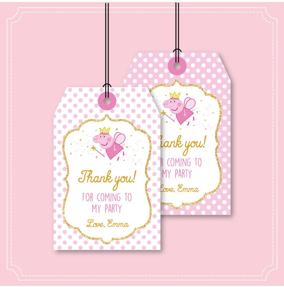 Peppa Pig Thank You Card An Tag Peppa Pig Thank You Note And Etsy