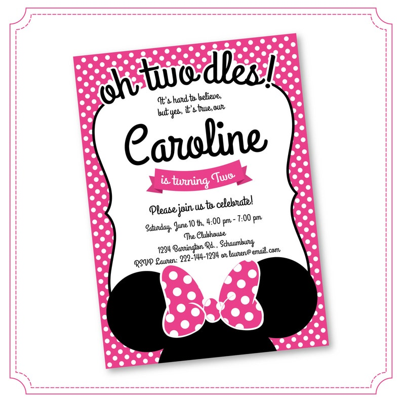 Oh Twodles Minnie Mouse 2nd Birthday Invitations Printable