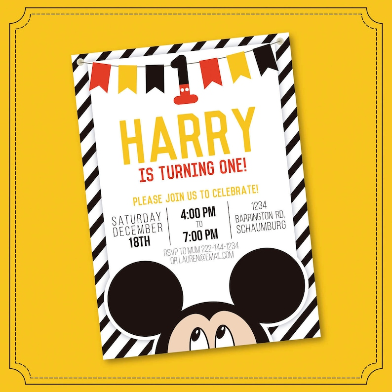 Mickey Mouse Invitation Mickey Mouse Clubhouse Invitation Etsy