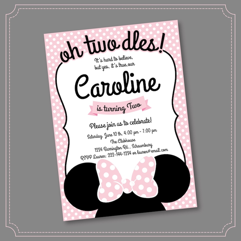 photograph regarding Minnie Mouse Birthday Cards Printable named Minnie Mouse 2nd Birthday Invites, Printable Ladies Celebration Invitation, Black White Polka Dots and Crimson, Minute Birthday, Oh 2-dles