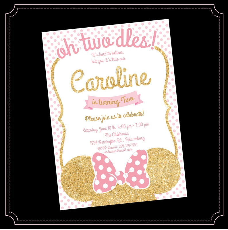Pink And Gold Minnie Mouse Birthday Party Invitation First Oh Twodles Glitter Polka Dot Invite Girl Printable 2nd