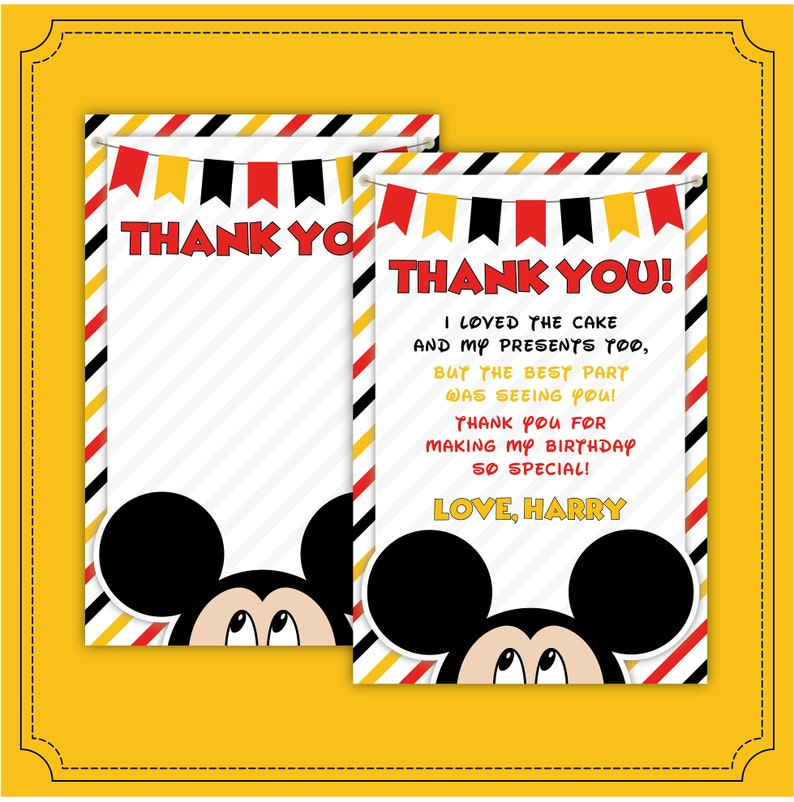 Mickey Thank You Card Oh Twodles Invitation