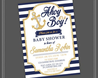 Nautical baby shower etsy 20off sale nautical baby shower invitation ahoy its a boy blue and filmwisefo