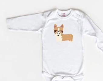 Corgi Dog Bodysuit, Hipster Baby Outfit, Hipster Corgi, Corgi Bodysuit, Trendy Baby, Baby Gift, Baby Shower Gift, Corgi Baby Gift