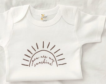 You Are My Sunshine, Neutral Baby Shirt, New Baby Gift, Pregnancy Announcement Baby Bodysuit, Gender Neutral, Cotton, Taupe Sunshine