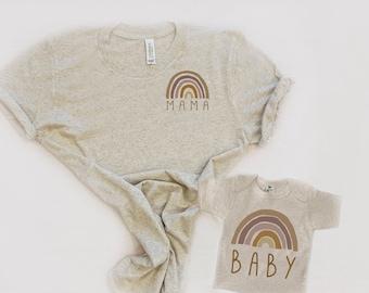 Rainbow Shirt Set, Oatmeal and Burnt Orange, Mommy and Me Rainbow Shirt, Matching Mom & Baby Shirt, Rainbow baby Gift, Matching Shirt Set