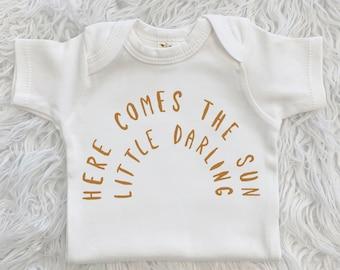 Here Comes The Sun Baby Bodysuit, Rainbow, Neutral, Here Comes The Sun Shirt, Rainbow Bodysuit, Cotton