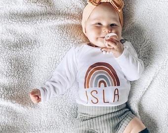 Rainbow Baby Bodysuit, Scandinavian Rainbow, Autumn Rainbow, Rainbow Baby Gift, Fall Rainbow Colors, Custom baby Name Shirt