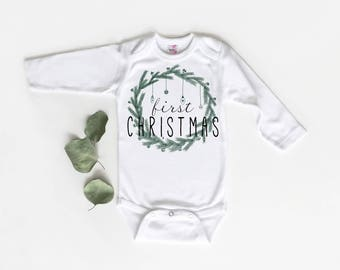 Baby's First Christmas, Baby Bodysuit, Baby Christmas Shirt, Christmas Baby, First Christmas, Gender Neutral, Baby Christmas Outfit