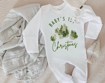 Baby First Christmas Pj, First Christmas Outfit, Neutral Christmas Outfit, Christmas Baby Pajamas,