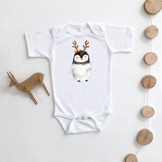 Christmas Bodysuit Penguin Hipster Christmas Outfit Holiday Etsy