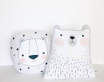Nursery Pillow, Minimal, Swedish, Lion, Polar Bear, Monochrome, Gift Set, Baby Shower Gift, Monochrome Decor, Kids