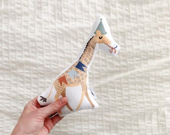 Mini Giraffe plush, baby toy giraffe, Hipster Baby Toy, Mini Party Animal, Stuffed Giraffe Toy, New baby gift, gender neutral