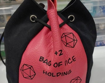 Leather +2 dice bag of holding - D&D gift - nerdy dice bag - DM gift - Game Master Gift