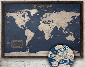 Push Pin Maps and World Maps by KRMaps on Etsy