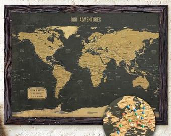 Push pin map | Etsy