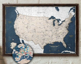 Push pin map | Etsy