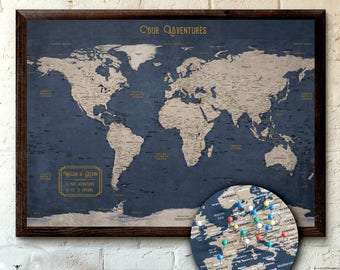 Large World Map Push Pin Executive Style 24x36"