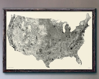 "Large US Map | USA Map | 24x36"" or 30x44"" Size 