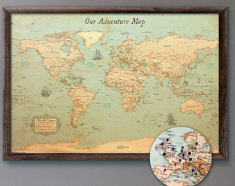 World map cork board etsy world map push pin rustic style 13x19 personalized travel map mounted on 316 foam board gumiabroncs Images