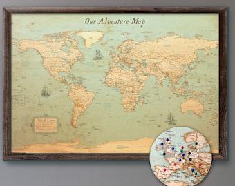 "World Map Push Pin Rustic Style 13x19"" | Personalized Travel Map Mounted on 3/16"" Foam Board"