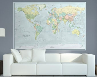 World Map Wall Mural Etsy - Huge world map for wall