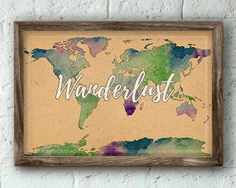 Wanderlust Print | World Map Watercolor Poster | Travel Poster | Map of the World | 19x13 / 14x11