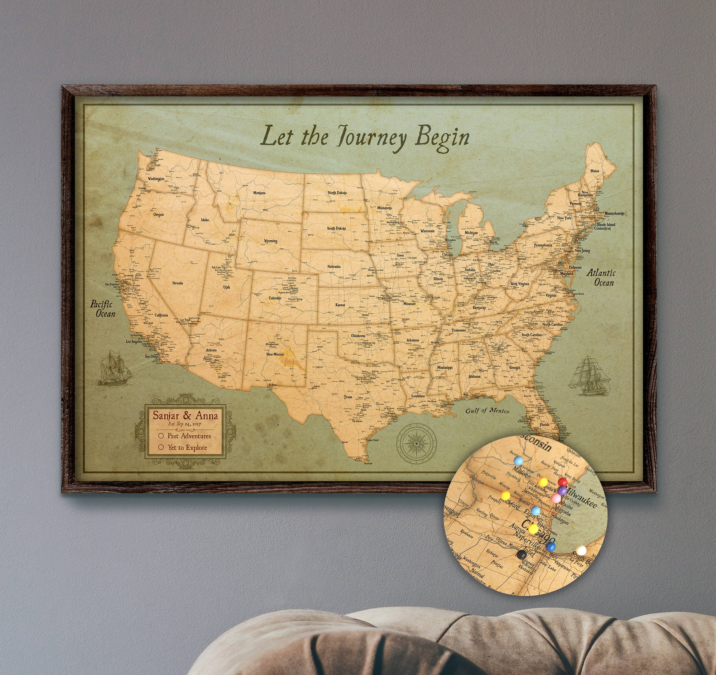 USA Travel Map Push Pin Large Rustic Style 24x36 or | Etsy