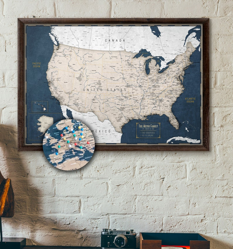 Personalized Us Map.Large Usa Push Pin Map Personalized Travel Map Of The Us Etsy
