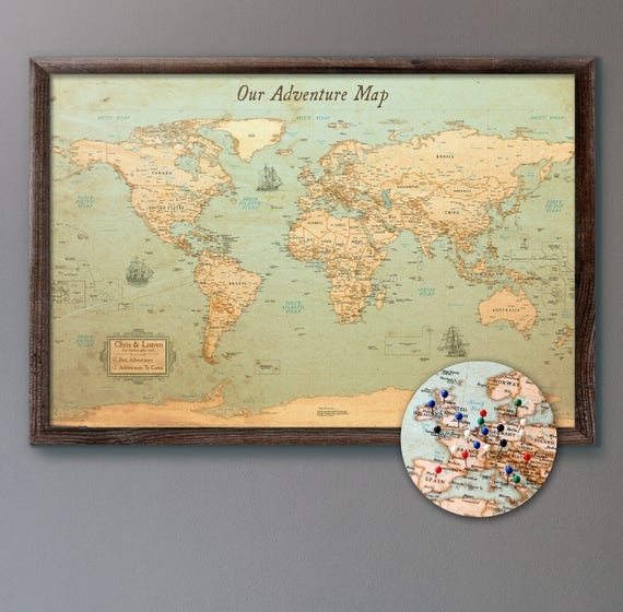 Personalized Travel Map World Map Push Pin Rustic Style 13x19 Personalized | Etsy Personalized Travel Map