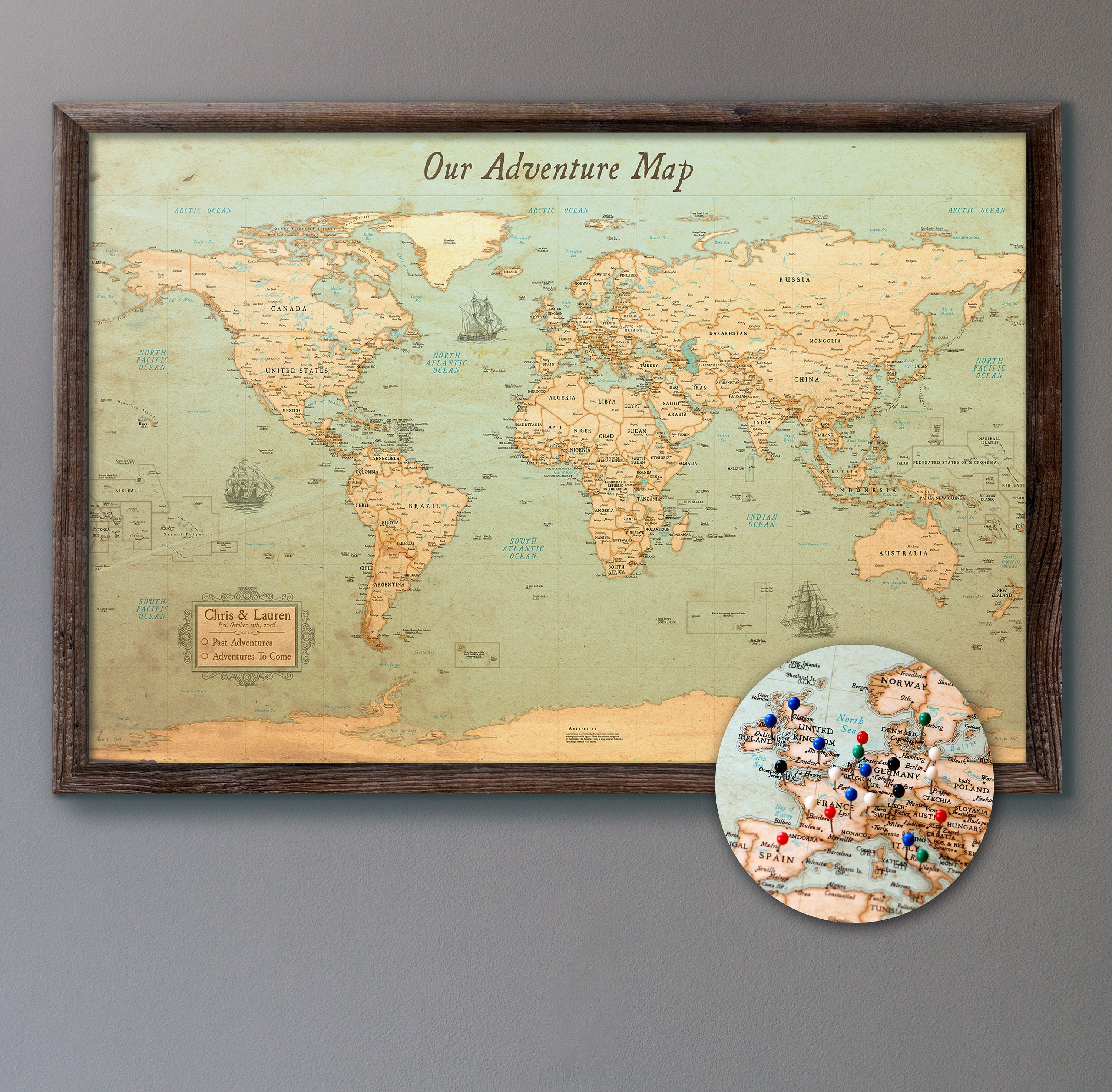 World Map Push Pin Rustic Style 13x19 Personalized Etsy