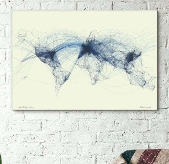 Flight Routes World Map Air Traffic Flight Patterns | Etsy