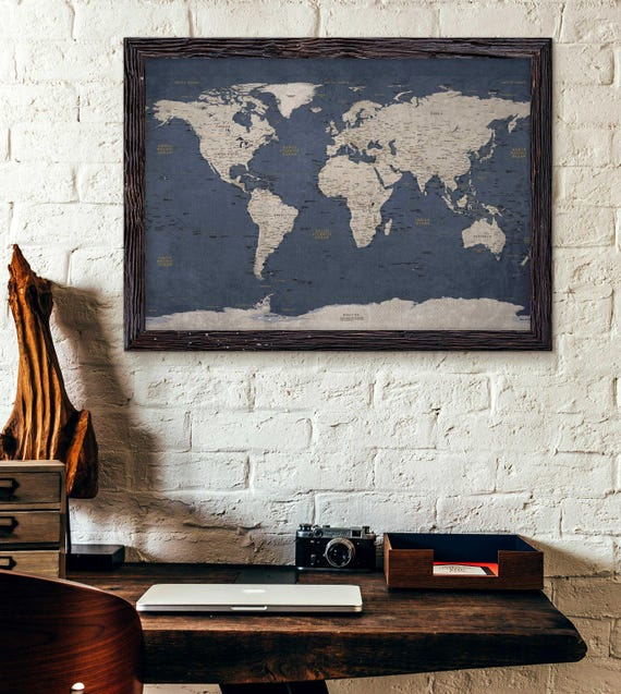World map poster print executive style modern map decor etsy image 0 gumiabroncs Image collections